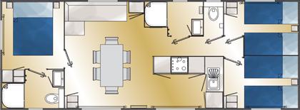 Grundriss caraibes - Plan ouderslaapkamer met badkamer en kleedkamer ...