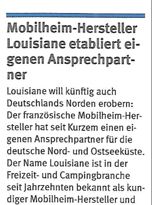 Louisiane Mobillux Camping Nr.6 / 2018 (Magazin Deutscher Camping Club)
